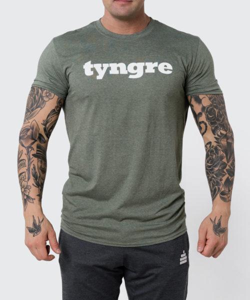 Tyngre T-Shirt Grönmelerad Herr Tränings T-Shirt