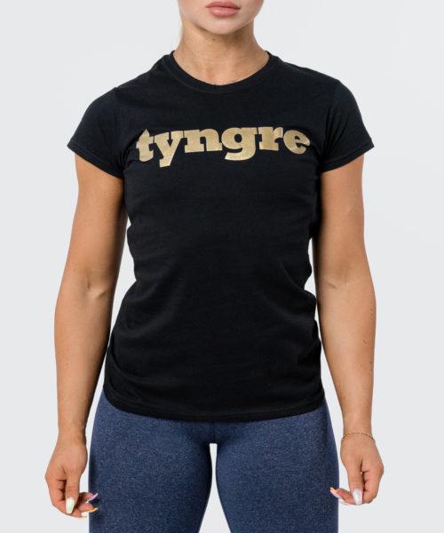 Tyngre T-Shirt Guld Svart Dam Tränings T-Shirt