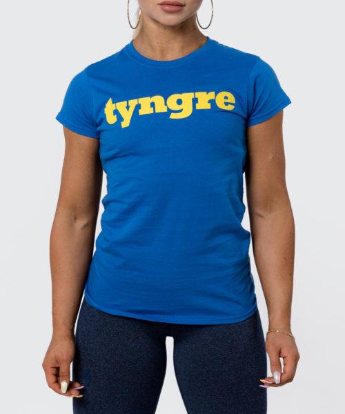 Tyngre T-shirt Gul Blå Dam Tränings T-Shirt