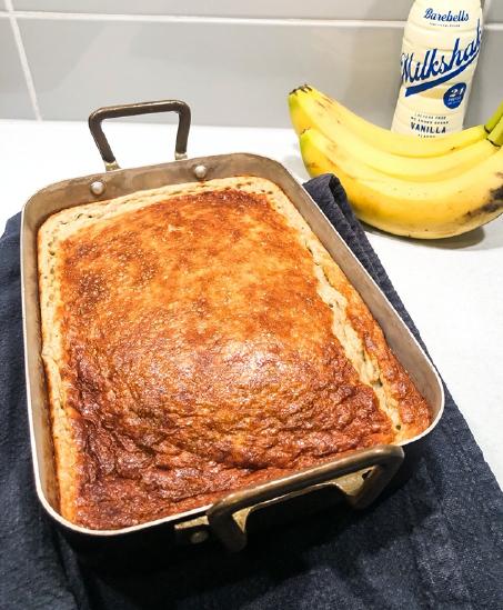 Proteinrik bananpannkaka i ugn