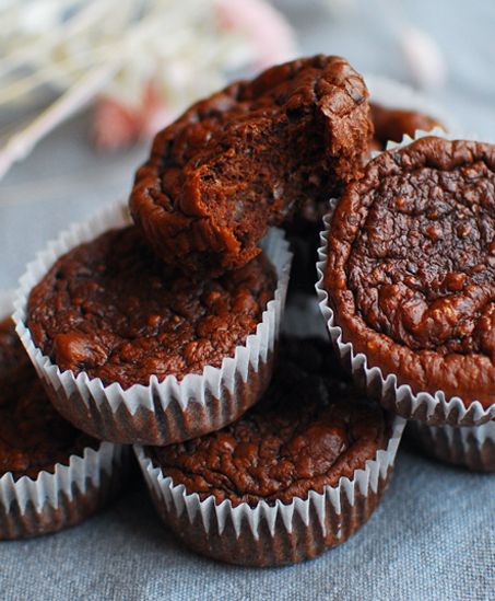 Proteinfyllda chokladmuffins