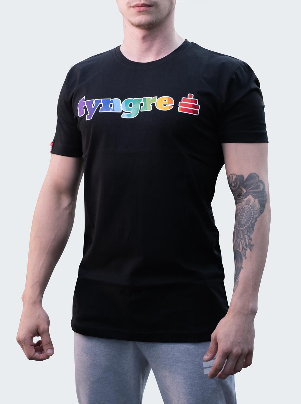 T-shirt Rainbow Mens Black